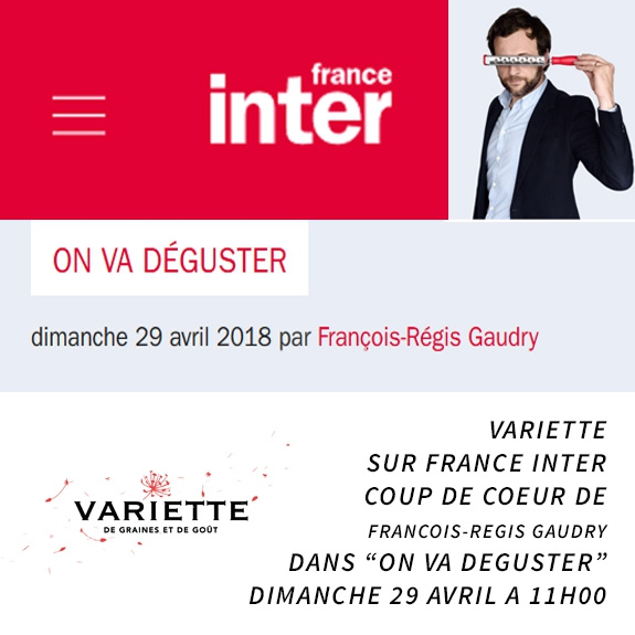 "VARIETTE sur FRANCE INTER ""ON VA DEGUSTER"""