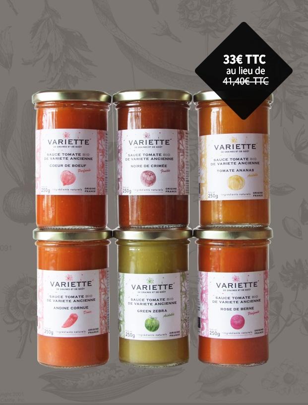 6 sauces tomates anciennes bios monovariétales