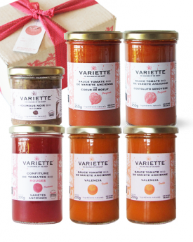Coffret Cadeau : 6 produits découverte, joli petit carton, ruban rouge et étiquette message