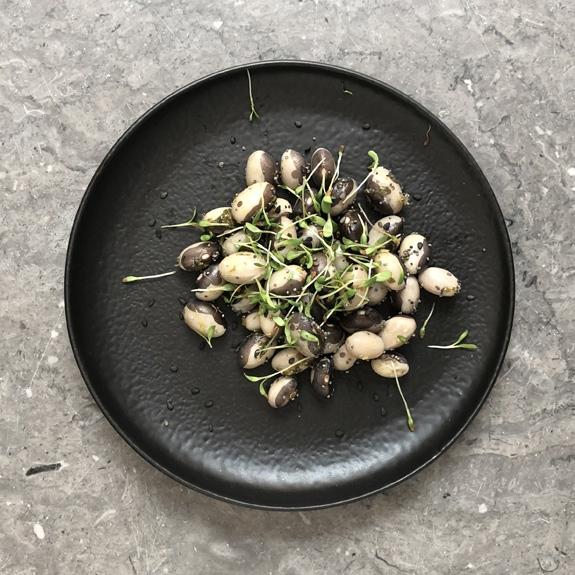 Salade de Haricots Yin Yang bios, basilic citron et pousses de graines germées