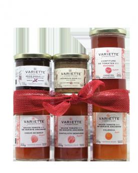 Coffret Noël : 3 sauces tomates, 1 confiture, 1 houmous et 1 sauce basilic dans un joli coffret enrubanné
